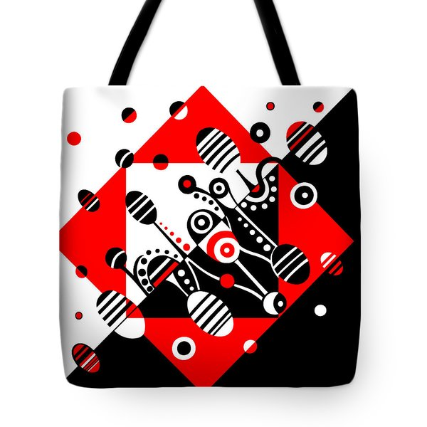 Microgravity - Red And Black Tote Bag by Deyana Deco