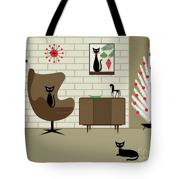 Tote Bag featuring the digital art Mid-century Christmas by Donna Mibus