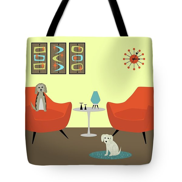 Tote Bag featuring the digital art Mid Century Modern Dogs 1 by Donna Mibus