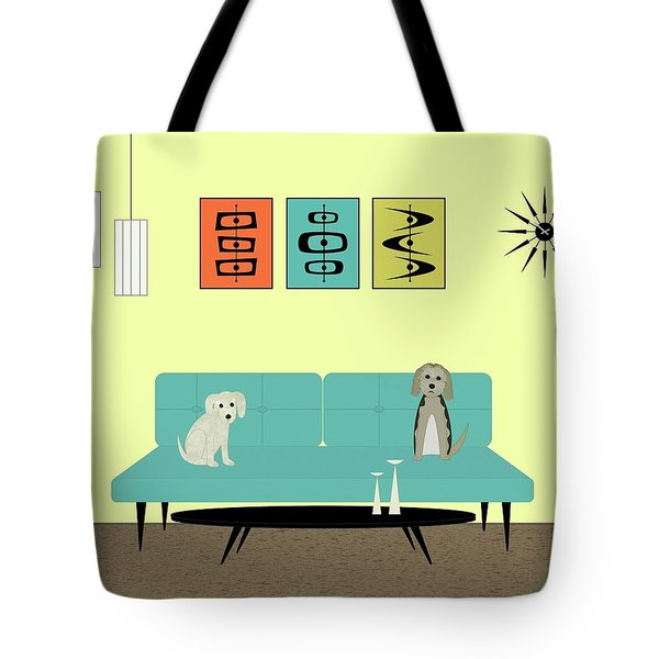 Tote Bag featuring the digital art Mid Century Modern Dogs 2 by Donna Mibus