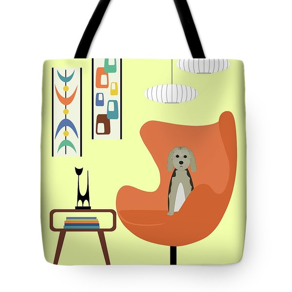 Tote Bag featuring the digital art Mid Century Modern Dogs 3 by Donna Mibus