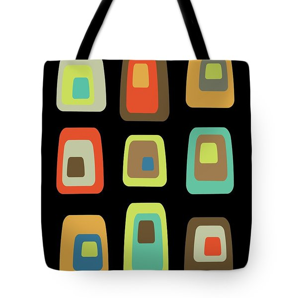Tote Bag featuring the digital art Mid Century Modern Oblongs On Black by Donna Mibus