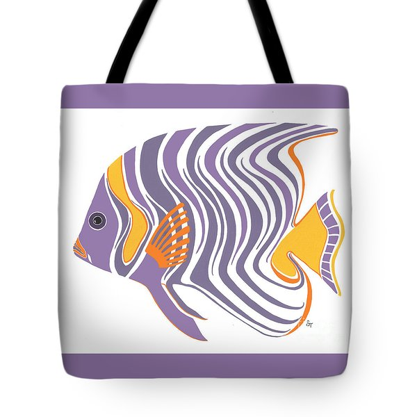 Mid Century Purple Fish Tote Bag