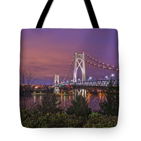 Mid Hudson Bridge At Twilight Tote Bag