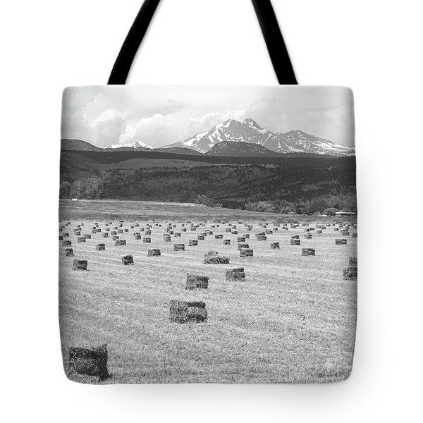Mid June Colorado Hay  And The Twin Peaks Longs And Meeker Bw Tote Bag by James BO  Insogna