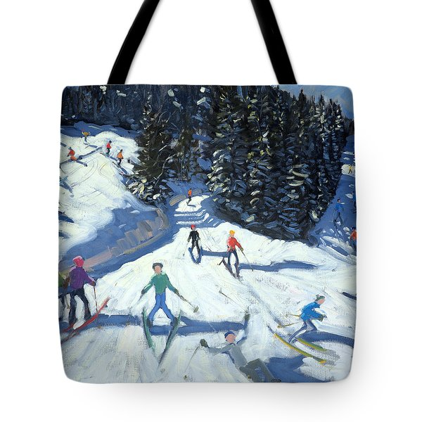 Mid-morning On The Piste Tote Bag by Andrew Macara