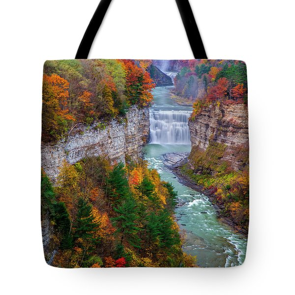 Middle Falls Of Letchworth State Park Tote Bag by Mark Papke
