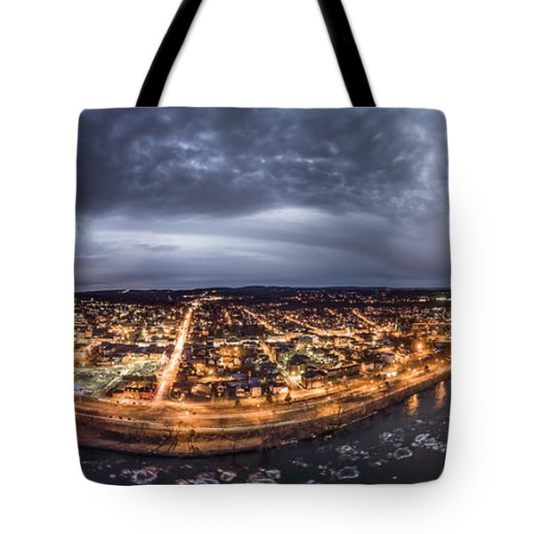 Middletown Connecticut, Twilight Panorama Tote Bag by Petr Hejl