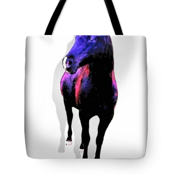 Tote Bag featuring the photograph Midnight Black Stallion by Sadie Reneau