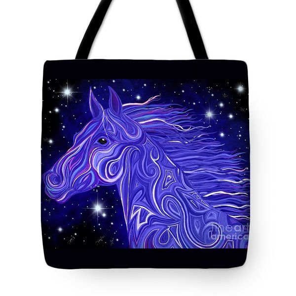 Tote Bag featuring the drawing Midnight Blue Mustang by Nick Gustafson