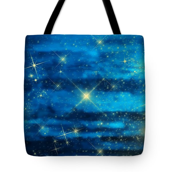 Midnight Blue Sky With Stars Tote Bag