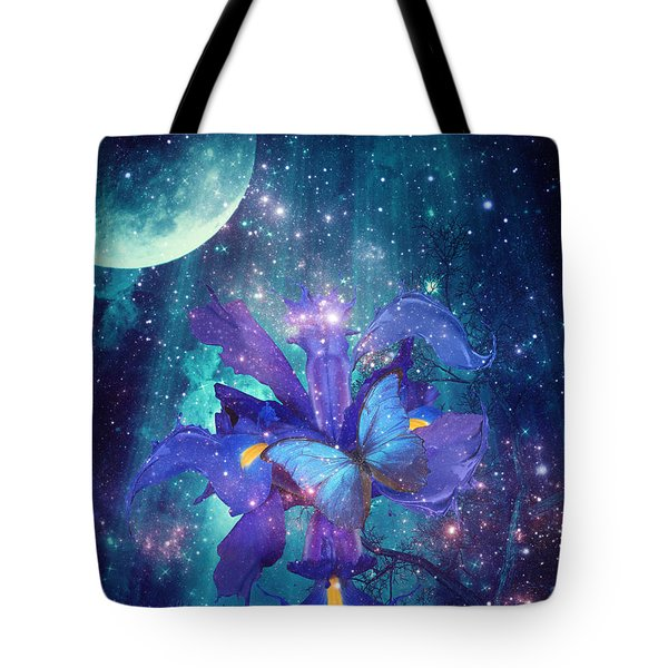Tote Bag featuring the digital art Midnight Butterfly by Mo T
