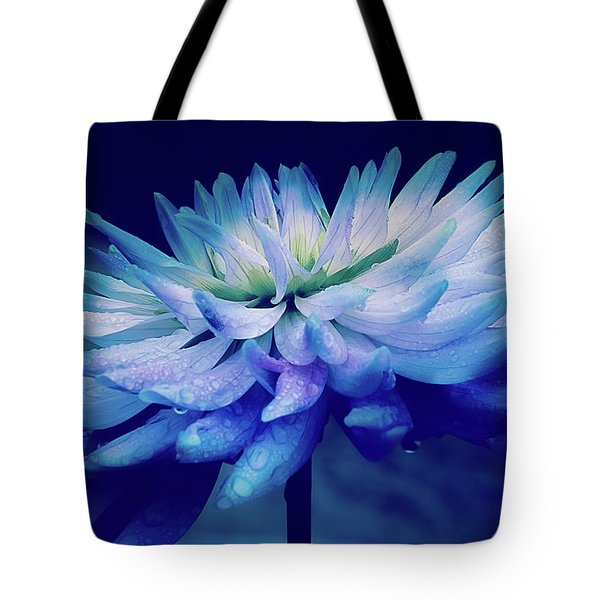 Tote Bag featuring the photograph Midnight Dahlia And Drops by Julie Palencia