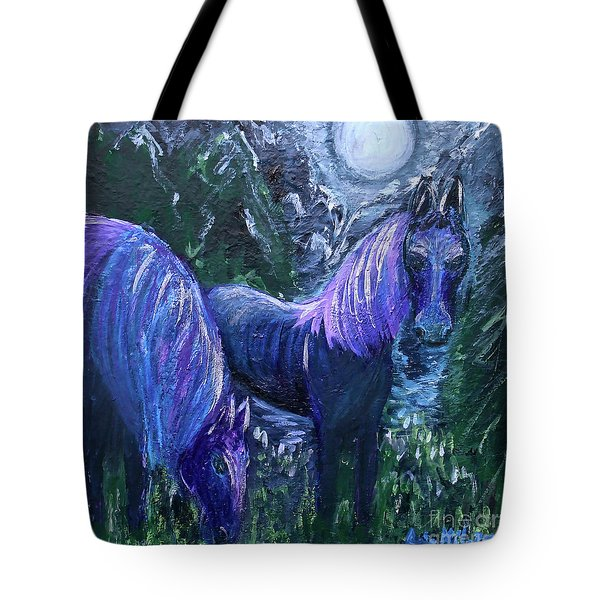 Tote Bag featuring the painting Midnight Feed by Ania M Milo