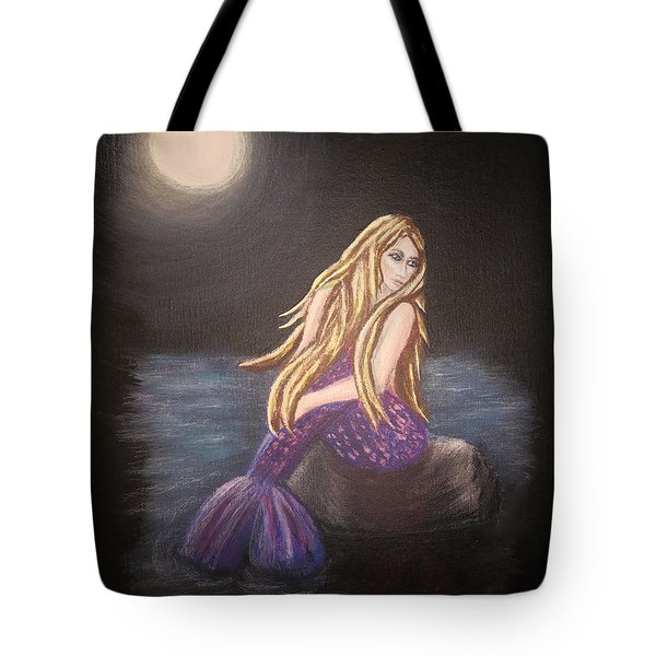 Tote Bag featuring the painting Midnight Mermaid by Teresa Wing