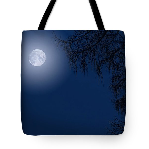 Midnight Moon And Night Tree Silhouette Tote Bag