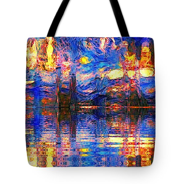 Tote Bag featuring the painting Midnight Oasis by Holly Martinson