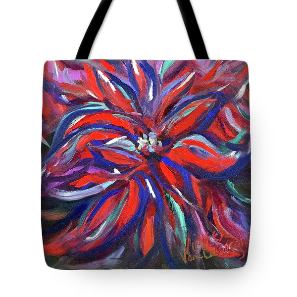 Midnight Poinsettia Tote Bag