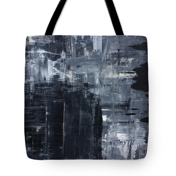 Midnight Shades Of Gray - 48x48 Huge Original Painting Art Abstract Artist Tote Bag