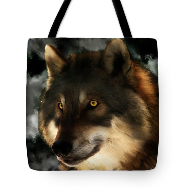 Midnight Stare - Wolf Digital Painting Tote Bag