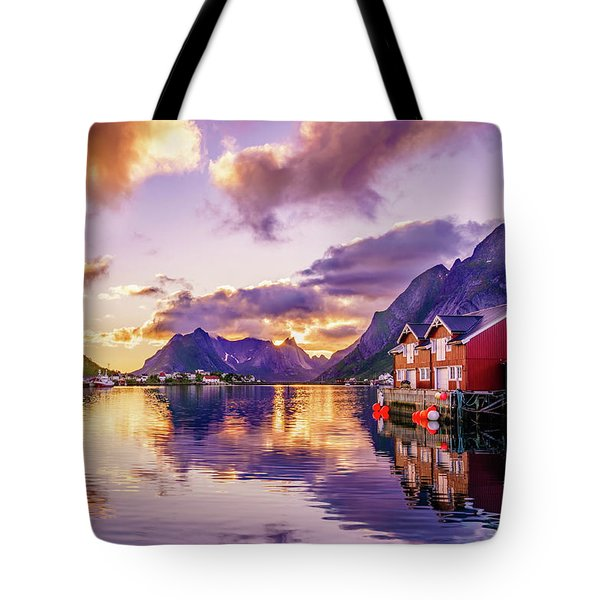 Midnight Sun Reflections In Reine Tote Bag