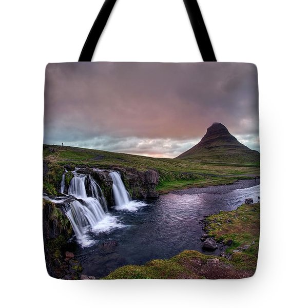 Tote Bag featuring the photograph Midnight Sunset At Kirkjufellsfoss by Peter Thoeny