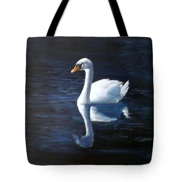Midnight Swan Tote Bag