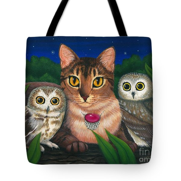 Midnight Watching - Abyssinian Cat Saw Whet Owls Tote Bag