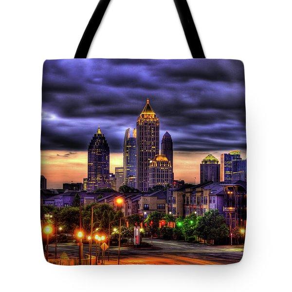Midtown Atlanta Towers Over Atlantic Commons Art Tote Bag