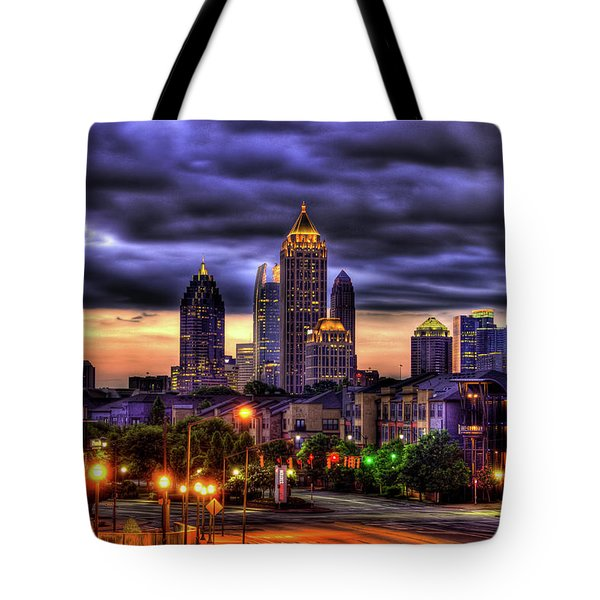 Midtown Atlanta Towers Over Atlantic Commons Tote Bag