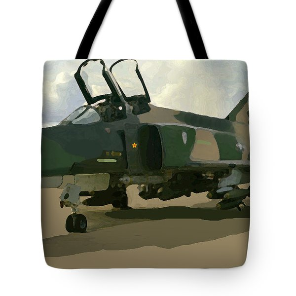 Tote Bag featuring the digital art Mig Killer by Walter Chamberlain