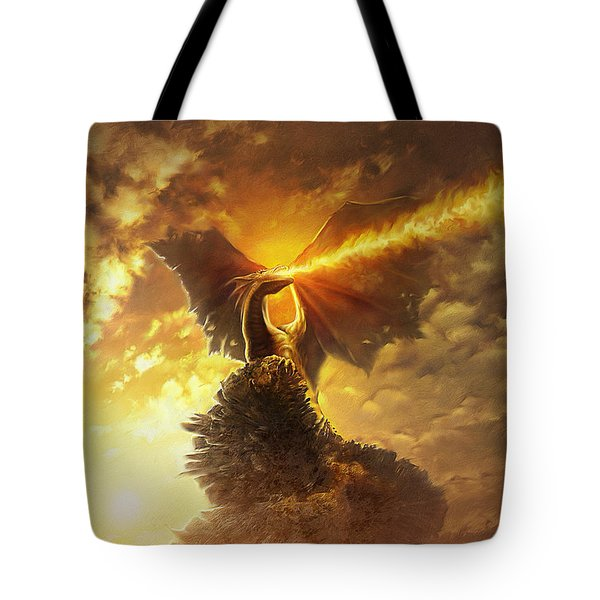 Tote Bag featuring the digital art Mighty Dragon by Uwe Jarling