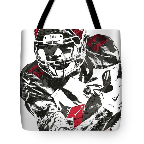 Tote Bag featuring the mixed media Mike Evans Tampa Bay Buccaneers Pixel Art by Joe Hamilton