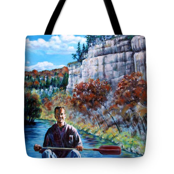 Mike On Float Trip Tote Bag by John Lautermilch