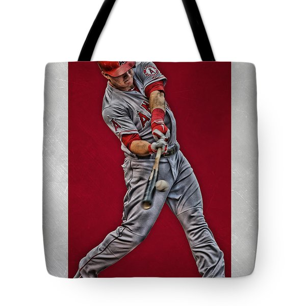 Tote Bag featuring the mixed media Mike Trout Los Angeles Angels Art 1 by Joe Hamilton