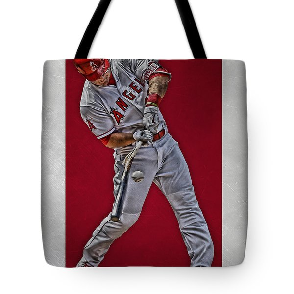 Tote Bag featuring the mixed media Mike Trout Los Angeles Angels Art 2 by Joe Hamilton