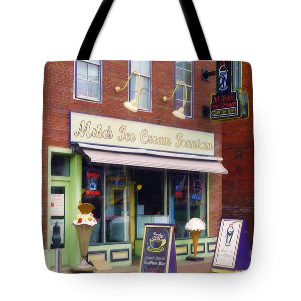 Mike's Ice Cream Fountain Tote Bag by Sandy MacGowan