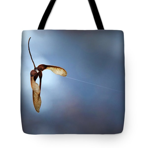 Tote Bag featuring the photograph Miksang 3 Maple Seeds by Theresa Tahara