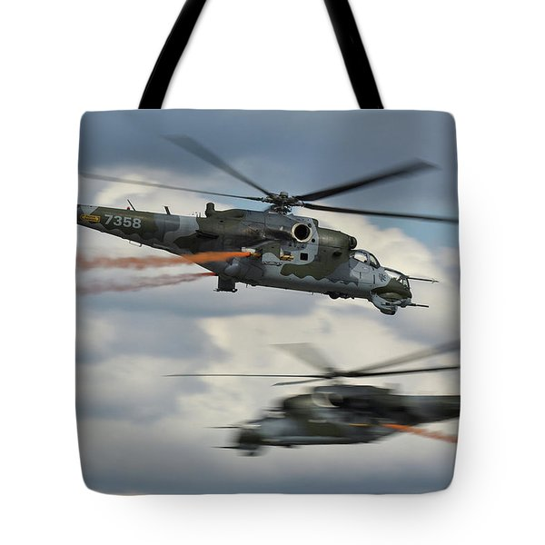Tote Bag featuring the photograph Mil Mi-24v Hind E by Tim Beach