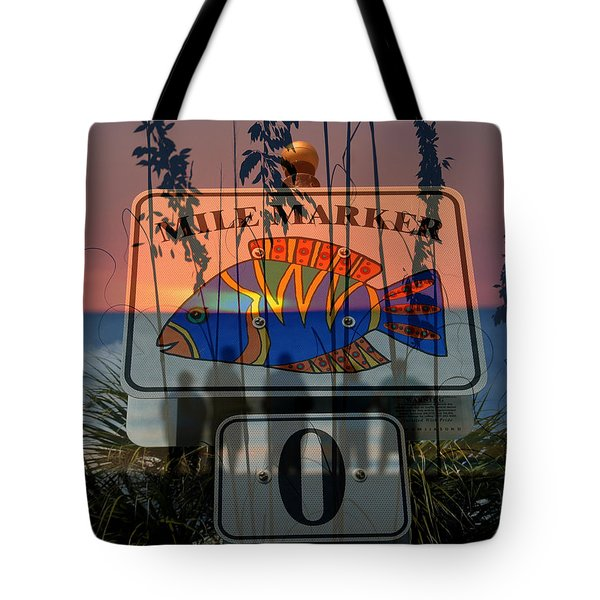 Tote Bag featuring the photograph Mile Marker 0 Sunset by David Lee Thompson