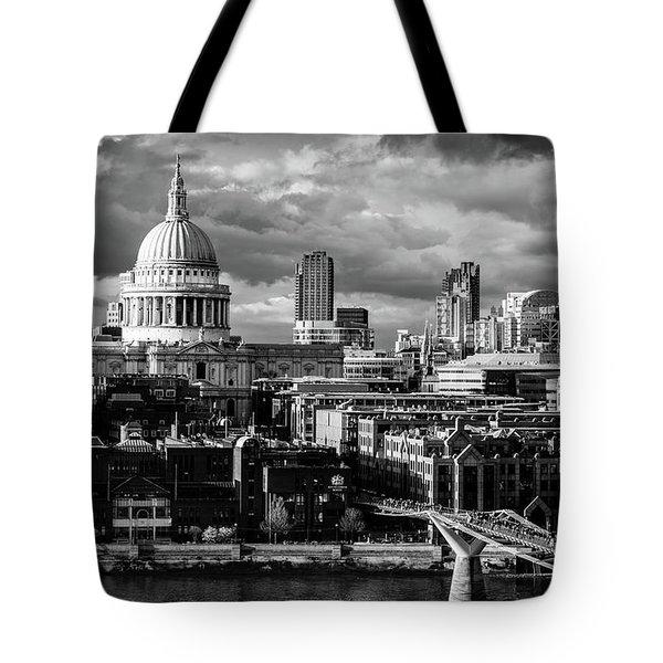 Milennium Bridge And St. Pauls, London Tote Bag