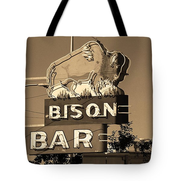 Miles City, Montana - Bison Bar Sepia Tote Bag