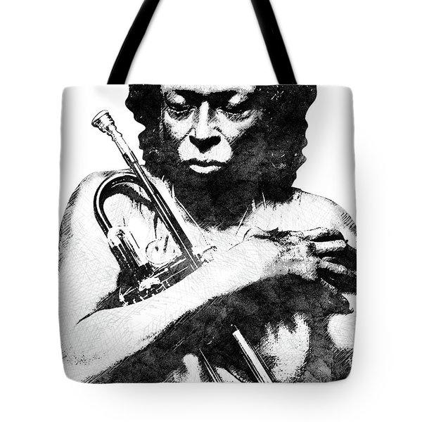 Miles Davis Bw  Tote Bag by Mihaela Pater