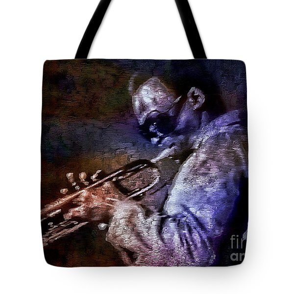 Miles Davis Jazz Legend 1969 Tote Bag by Ian Gledhill