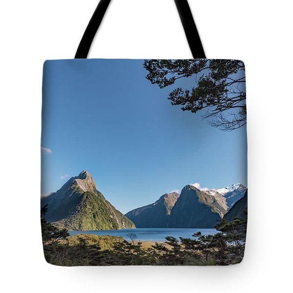 Tote Bag featuring the photograph Milford Sound Overlook by Gary Eason