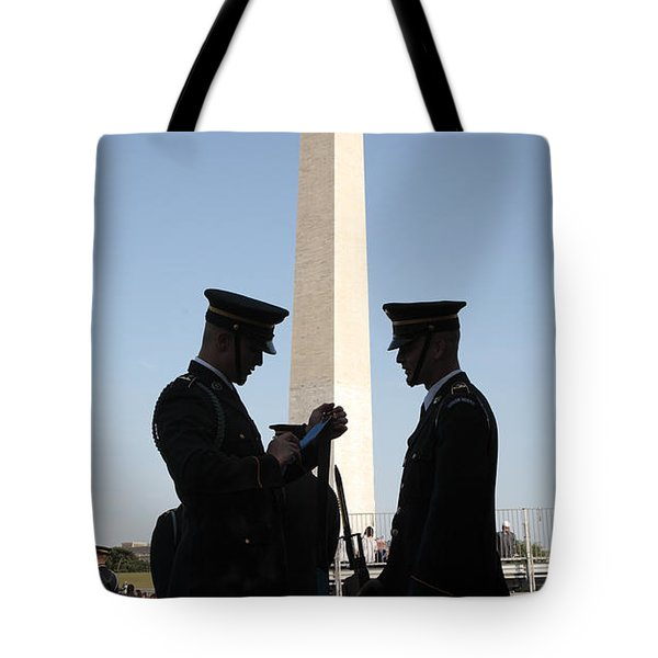 Military Ceremony At The Washington Monument Tote Bag