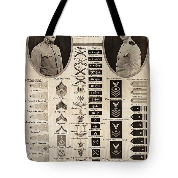 Tote Bag featuring the photograph Military Rank Identification 1917 by Daniel Hagerman