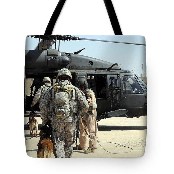 Military Working Dog Handlers Board Tote Bag by Stocktrek Images
