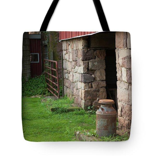 Milk Can At Stone Barn Tote Bag