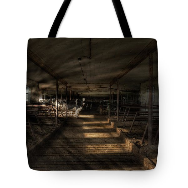 Tote Bag featuring the photograph Milk Cows In Radiant Light by Dennis Dame